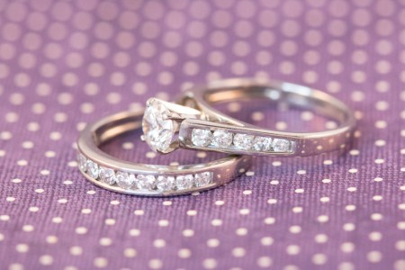 White Gold Wedding Set, Cathedral Setting