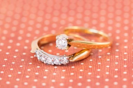 Yellow Gold Wedding Set, Diamond Set